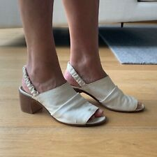 Elia Maurizi Cream Heeled Sandal - Real Leather - Made In Italy