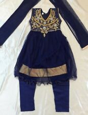 "20"" Age 2 Fancy Bollywood Salwar Kameez Indian Girls Party Blue Gold Dress B11"