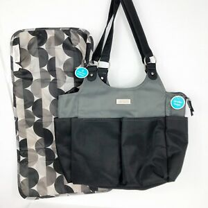 Carters On the Go Diaper Bag Baby Black Gray With Diaper Changing Pad 18x12x5