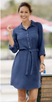Monroe & Main Summer Denim Blue Washed-Rayon Shirt Dress M L XL 1X 2X 3X PLUS