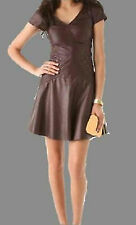 Women Dress Brown Real Leather Evening Cocktail Ladies Dress WD014