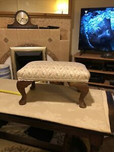 Vintage reupholstered extra large footstool