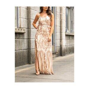 L&B Ladies Rose Gold Sequin Maxi Dress SZ-2564-ROSE