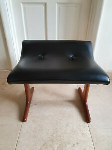 Austinsuite Frank Guille Vintage Teak & Black Leatherette Dressing Table Stool