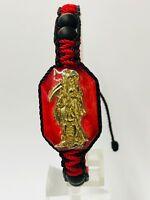 Holy Death Reaper Bracelet Santa Muerte Red con cristal matte Tejida a mano