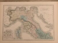 1854 NORTH ITALY LARGE HAND COLOURED ANTIQUE MAP 165 YEARS OLD BY SIDNEY HALL