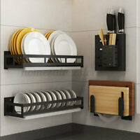 Kitchen Storage Rack Dish Spice Shelf Utensils Holder Wall Mounted Hanging Stand