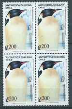 CHILE 1992 Antartic Antartica Penguin MNH block of 4 $200