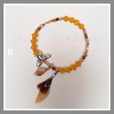 Bracelet lolilota lol bijoux elastique plume perles jaune argent papillon