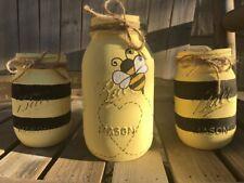 Bumble Bee Mason Jar Centerpiece Set / Bee Decor / Black & Yellow Bumble Bee