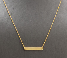 14K Solid Yellow Gold Bar Necklace with Diamond Accent