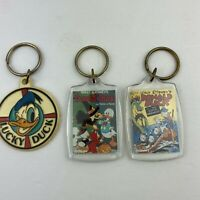 Lot of 3 Vintage Donald Duck Plastic Keychains Key Rings Walt Disney
