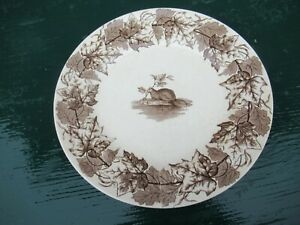 """RARE Antique T FURNIVAL & Sons MAPLE BEAVER MAPLE LEAF 9+"""" Plate VERY OLD"""