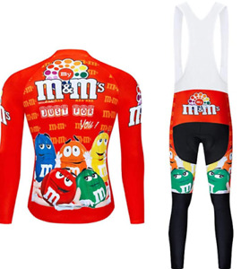 M&M Team Men's Long Sleeve Cycling Jersey and Bibs Pants Set