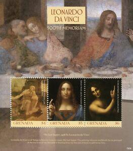 Grenada Art Stamps 2019 MNH Leonardo Da Vinci 500th Memorial Last Supper 3v M/S