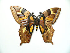 Butterfly Intarsia Wood Wall Art Home Decor Plaque Lodge New