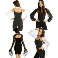 Women Sheer Chiffon Long Flare Sleeve Lace Shrug Bolero Cardigan Party Cover Up