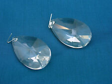 "(2) CLEAR CRYSTAL GLASS PRISMS - 2 1/2"" - TEAR DROP SHAPE -  LAMP / CHANDELIER"