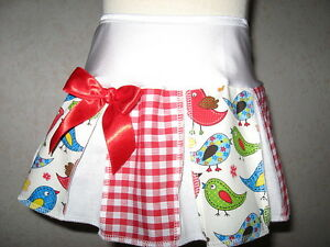 summer Party skirt Baby White Red Green Birds Check Cheerleader Retro Gift UK