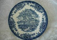 Collectible Vintage Cobalt Blue Medieval Cottage Scenic Plate - Made in England