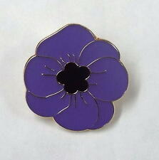 Purple Poppy Enamel Lapel / Pin Badge honouring animals lost in war (Plain)
