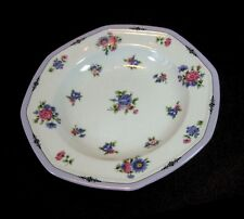 Christopher Stuart VIVA Soup Bowls Lot of 2 Rimmed White / Lavender Edge