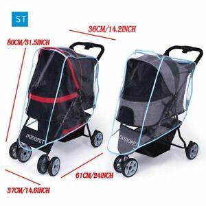 Pet Stroller Cover for Car Dog Foldable Safe Transparent Wind Rain Proof Cover