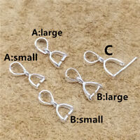 8 Sterling Silver Pinch Bails 925 Silver Charm Pendant Bails 5 Options