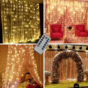 LED Fairy String Lights Curtain Window Hanging Wedding Decor Solar/Battery Power