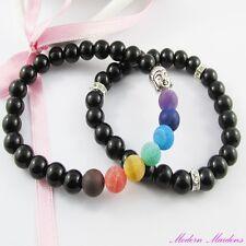 2pce Stretch Buddha & Gemstone Chakra Beaded Bracelet Set