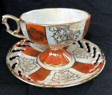 Vintage Norleans Florals Footed Tea Cup & Saucer Set  JAPAN Orange/gold