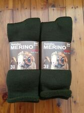 6 PAIRS AUSTRALIAN HEAVY DUTY MERINO WOOL WORK SOCKS - KHAKI 6-11