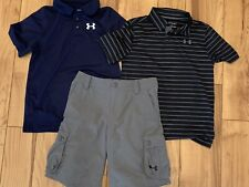 Under Armour Youth Medium M Golf Shorts & Polo Shirts 3 Pcs Lot New Condition.