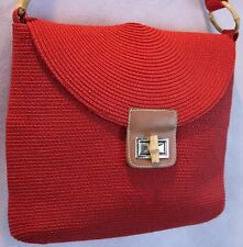 Red Paper Straw Stunning Medium Shoulder Bag w/ Decorative Bamboo & Leather EUC