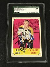 HOF GLEN SATHER 1967-68 TOPPS ROOKIE SIGNED AUTOGRAPHED CARD #38 SGC AUTHENTIC