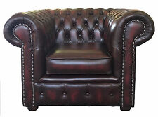 Chesterfield Genuine Leather Club Armchair Oxblood Red Buttoned UK Handmade