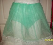 "MINT GREEN Sheer Nylon SLIP & MEN'S SLEEVE PANTY * 29-38"" Waist * Length 18"""