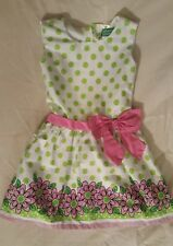 Adorable Green Tag Premarox Kids Lime Polka Dots Flowers Dress Pink Bow Girls 3T