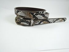 "Womens Ladies Brown Animal Print Snakeskin Faux Leather Belt 32"" to 36"" Inch"