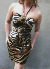 CACHE Black Brown Tiger Print Rushed Satin Silk Eve Halter Dress