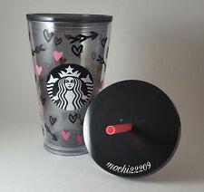 Starbucks 2017 VALENTINE BLACK PINK HEARTS Acrylic Cold Cup Tumbler Mug 16oz