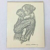 Kathe Kollwitz Child In Arms Drawing Precious Miniatures Royale Academie 4 x 5