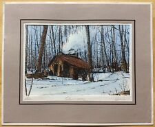 "Vintage Marc Signed Hand-Colored Engraving Maple Sugar Maker - Mat 10"" x 12"""