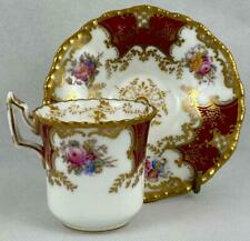 Burgundy~Red Antique Coalport Batwing 2665~Cup & Saucer~Gold Gilt~1891~Demitasse