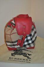 NWTS BURBERRY DENNIS BACKPACK Check Plaid Military Red Girls Handbag $450+ Bag