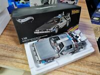 ORIGINAL! Hot Wheels Elite 1/18 Back To The Future Time Machine Delorean BCJ97