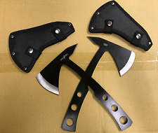 2 PACK BLACK TOMAHAWK FULL TANG THROWING AXE SET w/ SHEATHS PERFECT POINT