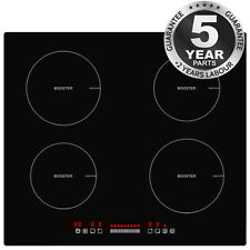 8000W 60cm Touch Control 4 Zone Boost Induction Hob UK Plug Fitted Cooker