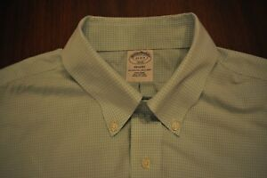 "BROOKS BROTHERS REGENT GREEN CHECK BUTTON DOWN SHIRT SIZE 17"" 2/3"