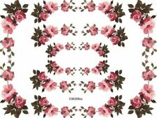 AweSoMe RoSy PinK FloRaL SwaGs / CorNeRs ShaBby WaTerSliDe DeCals